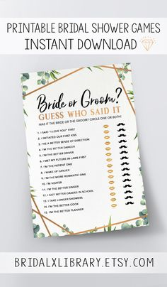 $4.00 Guess Who Said It, Bridal Shower Games Printables, Bridal Shower Game Idea, Bridal Shower Instant Download, Wedding Game, Bridal Shower Game