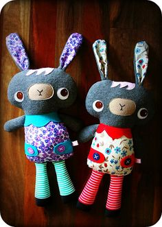 "https://flic.kr/p/6earWr | Doddi Bunnies #1 & #2 | Handmade for two babies celebrating milestones soon.  Made from grey polar fleece, assorted cottons, and wool felt.  <a href=""http://www.oneredrobin.com"" rel=""nofollow"">One Red Robin</a>"