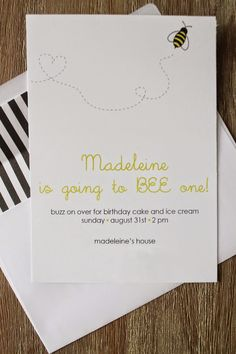 get it together, Bee Day Party, Bumble bee theme, birthday, first birthday, invitation