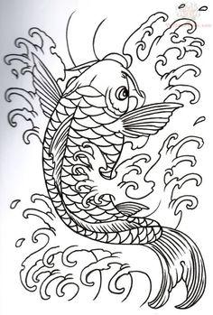 Fish Art design   Japanese Koi Outline Tattoo Design tattoomagz.com