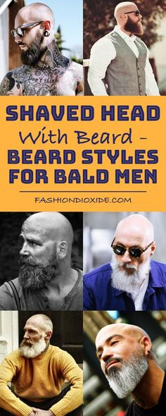 Shaved Head With Beard - 90 Beard Styles For Bald Men you must be a beard-conscious guy who really needs a facial hair styling ideas. Here, dig out the beard styles for bald men as the images. Bad Beards, Bald Men With Beards, Bald With Beard, Grey Beards, Bald Head Man, Shaved Head With Beard, Beard Head, Beard Styles For Men, Hair And Beard Styles