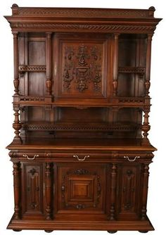 Antique 1900 French Walnut Renaissance Buffet Cabinet Sideboard Open Gallery