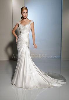 satin beading mermaid wedding dress | Mermaid Satin Straps Asymmetric Waist Floor Length With Beading Bridal ...