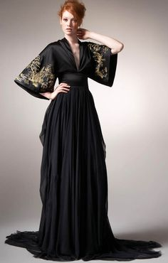 Alexander McQueen black embroidered gown, Tour of Japan Collection Beautiful Gowns, Beautiful Outfits, Kimono Dress, Dress Up, Pretty Outfits, Pretty Dresses, Alexander Mcqueen Dresses, Alexander Mcqueen Couture, Kimono Fashion