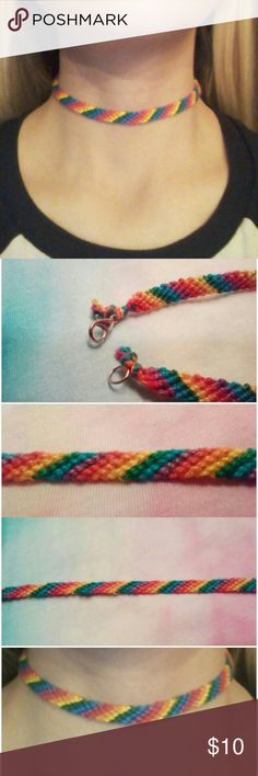 One of a Kind Oringinal Rainbow Choker  Handmade, by me.  Clasp in back, stretches if need be- should fit most!  Tags: pride diy colorful gaypride gay lesbian noh8 equality love LGBT ❤      Free gift with every purchase!  Jewelry Necklaces