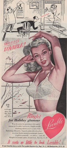Pin up girl in a Lovable bra, 1952. THIS is a bullet bra. The bra cup is made of four triangles sewn together into a serious point, and note the cup stitching circling and circling! LOVE IT!