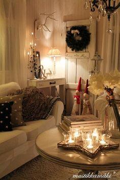 cozy Christmas room love the door with the wreath