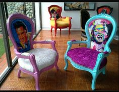 funky furniture - Picture of Gallery Cafe Painted Chairs, Hand Painted Furniture, Funky Furniture, Refurbished Furniture, Classic Furniture, Paint Furniture, Upcycled Furniture, Furniture Projects, Furniture Makeover