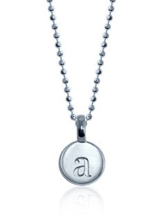 Alex Woo %22Mini Addition Letter%22 Sterling Silver Charm Pendant Necklace