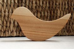 BABY RATTLE WOOD bird natural teething teether by littlealouette