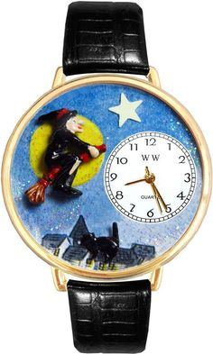 7edf5182fc WHIMSICAL WATCHES Whimsical Watches Personalized Halloween Witch Womens  Gold-Tone Bezel Black Leather Strap Watch