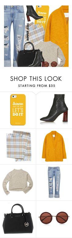 """Ripped Jeans"" by ino-6283 ❤ liked on Polyvore featuring Casetify, Topshop, Burberry, MANGO, Rebecca Minkoff, Frame Denim and The Row"