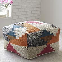 Multi Texture Wool Pouf