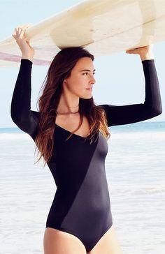 dccb587fcc Plain Long Sleeve Zipper One-Piece Swimsuit