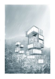 A city as a transition between the ocean and mountains by Martin Kloeckner, via Behance