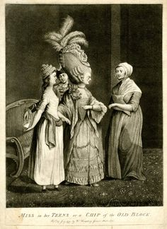 A macaroni woman standing addressing a maid, while pointing at her young daughter, who she holds by the wrist, while the girl who stands on the left in front of a sofa, covertly receives a note from a footman, holding out her hand behind her left.  1777  Mezzotint with some etching
