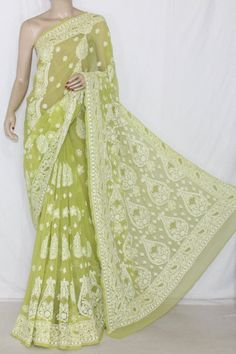 Menhdi Green Allover Hand Embroidered Lucknowi Chikankari Saree (With Blouse - Georgette) Rich Border & Pallu 14395