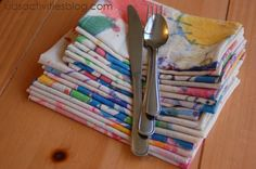 handpainted napkins--by the kids! fun gift for family!