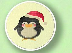 Christmas Penguin Cross Stitch PDF Pattern by andwabisabi on Etsy, $3.00