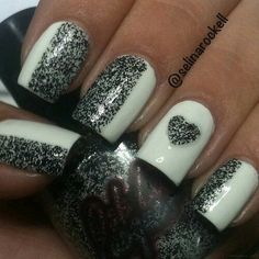 White half with salt and peppery nail design