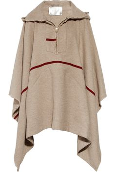 Make this without the stripe and buttons or frogs instead of a zip and you have an instant ranger cloak. - A.L.C.Drizae hooded wool-blend poncho