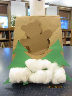 """Storytime goers at the Central Library read books aloud about hibernation and made this adorable """"bear cave"""" today! Bears Preschool, Preschool Activities, Winter Art, Winter Theme, Toddler Crafts, Crafts For Kids, Animals That Hibernate, Bear Theme, Preschool Projects"""