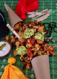 It's time for game-day !!!! Who are you rooting for? I'm team #SuperCrispy Football Cone Soy Chorizo Totchos! Decided to serve my @growninidaho tots in a cone this year to make it easy to keep the food separated. If you are watching with your own household, then allow them to spill all over a table and scoop into a cone. You will score big this these delicious Totchos. They make the perfect hearty snack to munch on while watching the game, all the commercials, and the HALFTIME show too. #AD