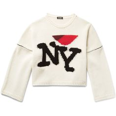 Raf Simons I Heart NY Oversized Intarsia Wool Sweater ($690) ❤ liked on Polyvore featuring men's fashion, men's clothing, men's sweaters, mens oversized sweaters, mens wool sweaters, mens woolen sweaters, mens short sleeve sweater and mens sweaters