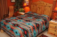 Southwestern bedspreads, western bed spreads with Native designs perfect southwest decor. Southwestern Bedroom, Southwestern Decorating, Southwest Decor, Southwest Style, Western Style, Home Bedroom, Bedroom Decor, Aztec Bedroom, Aztec Bedding