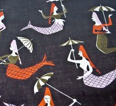 great mid-century textile designs by #tammis #keefe #mermaid via: ThisGirlLel dot com