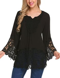 Soteer-Womens-Floral-Cotton-Lace-Crochet-Long-Sleeve-Tee-Shirt-Casual-Blouse-Tops-Black-S