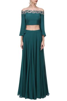 Pooja Peshoria presents Teal crystal and cutdana embellished crop top skirt set available only at Pernia's Pop Up Shop. Pakistani Outfits, Indian Outfits, Crop Dress, Dress Up, Lehenga Crop Top, Kalamkari Dresses, Embellished Crop Top, Indian Skirt, Girl Fashion