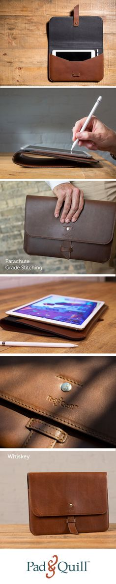 Perfectly fits an iPad Pro, Apple Pencil, and Smart Keyboard. Crafted from American Full-Grain Saddle Leather. It closes shut with a secure flap that features a classy a tuck-locking bookmark accent. Made with parachute-grade nylon stitching for super durability and protection.
