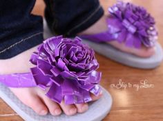 Adorable!  (Probably uncomfortable...but ADORABLE!)  Here's how: http://www.skiptomylou.org/2012/03/07/how-to-make-duck-tape-flowers-200-michaels-giveaway/