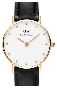 Daniel Wellington 'Classy Sheffield' Crystal Index Leather Strap Watch, 26mm available at #Nordstrom