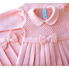 Crochet Baby Dress Pattern, Baby Cardigan Knitting Pattern, Knit Baby Dress, Baby Girl Crochet, Baby Knitting Patterns, Dresses Kids Girl, Kids Outfits, Little Girl Fashion, Kids Fashion