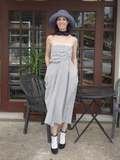 Pin-striped dress from Malia Mills Frilly Socks, Chic Summer Outfits, Ankle Socks, Older Women, Striped Dress, Houston, Summertime, Strapless Dress, Hot