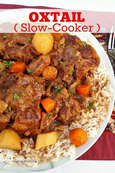 This Oxtail cooked in the Slow-Cooker turns out so tender and fall-off-bone - with a delicious rich sauce Oxtail Recipes Crockpot, Slow Cooker Recipes, Crockpot Recipes, Soup Recipes, Dinner Recipes, Cooking Recipes, Curry Recipes, Roast Recipes, Dinner Menu