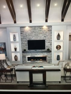 Deep brown, light and dark gray. Lots of clean Home Theater Rooms, Living Room Spaces, Fireplace Design, New Homes, Home Decor, Living Room Tv Stand, Living Room Decor Cozy, Home And Living, Living Room Tv Wall