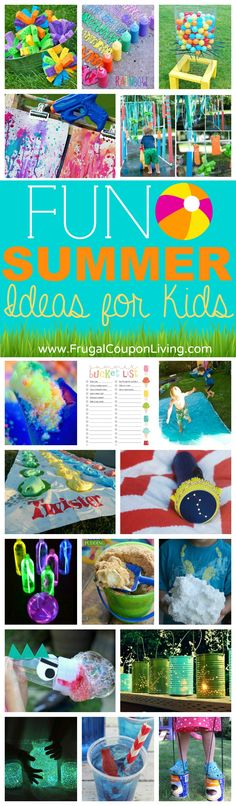 Fun Ideas DIY Summer Fun Ideas for Kids on Frugal Coupon LIving - great summer activities for the kids and DIY summer fun ideas.DIY Summer Fun Ideas for Kids on Frugal Coupon LIving - great summer activities for the kids and DIY summer fun ideas. Summer Fun For Kids, Summer Activities For Kids, Summer Diy, Summer Crafts, Craft Activities, Games For Kids, Diy For Kids, Summer Ideas, Summer Games