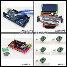 1pcs Mega 2560 R3 + 1pcs RAMPS 1.4 Controller + 5pcs A4988 Stepper Driver Module +1pcs 12864 controller for 3D Printer diy kit