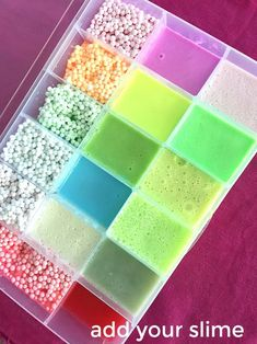How to make a travel slime travel box. Fill the box with your child's favori… How to make a travel slime travel box. Fill the box with your child's favorite slime so they can transport their slime and to play with and show it off! Le Slime, Slimy Slime, Diy Crafts Slime, Slime Craft, Slime Box, Balle Anti Stress, Pretty Slime, Slime And Squishy, Slime Shops