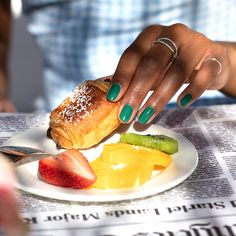 A #RatedPeaG take on what #SelfCareSunday feels like: brunch and pretty manis! #ColorIsTheAnswer #OPIHollywood #SelfCare #GreenNails #GreenMani #TrendyNails #SpringNails #OPIObsessed #SpringMani #NailInspo #LALifestyle #HollywoodStyle #NailTrends #SpringStyle #NailCare #NailedIt #NailsOnPoint #NOTD Green Nail Polish, Spring Nails, Summer Nails, Red Carpet Nails, Long Lasting Nail Polish, Vacation Nails, Nail Trends, Trendy Nails