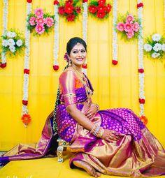 Purple and pink silk kanchipuram sari.Braid with fresh jasmine flowers. Desi Wedding Decor, Wedding Mandap, Wedding Stage Decorations, Saree Wedding, Marriage Decoration, Backdrop Decorations, Bridal Sarees, Floral Decorations, Wedding Backdrops