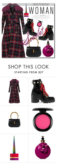 """""""Scarlet"""" by vintagecarwen ❤ liked on Polyvore featuring Miu Miu, Gucci, MAC Cosmetics, Christian Louboutin, Valentino and vintage"""