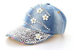 Fashion Cotton Jean Caps Women Rhinestone baseball cap Lady JEAN summer hat e398733809e7