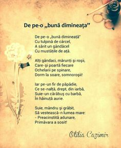 De pe-o buna dimineata- Otilia Cazimir Experiment, 4 Kids, Nursery Rhymes, Projects For Kids, Kids And Parenting, Good To Know, Childhood Memories, Literature, Nostalgia