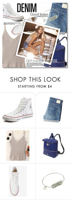 """""""Kaia Gerber Distressed Denim"""" by svijetlana ❤ liked on Polyvore featuring Converse, AG Adriano Goldschmied and Gerber"""