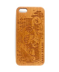 Horror Mingo Wood Phone Case for iPhone 5/5s.  Available online from the Creep Heart store (www.creepheart.com.au).   Artwork by Ella Mobbs.   Laser etching by Vector Etch (http://www.vectoretch.com.au/).