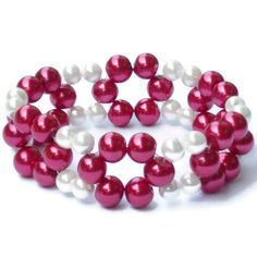 Red and White Bead Bracelet Glass Pearls by ForgetTheClasp on Etsy. Stretch bracelet fits sizes 6 1/2 to 7 1/2.
